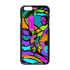 Abstract Art Squiggly Loops Multicolored Apple Iphone 6/6s Black Enamel Case by EDDArt