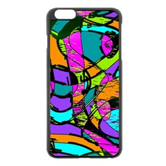 Abstract Art Squiggly Loops Multicolored Apple Iphone 6 Plus/6s Plus Black Enamel Case by EDDArt