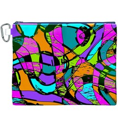 Abstract Art Squiggly Loops Multicolored Canvas Cosmetic Bag (xxxl) by EDDArt