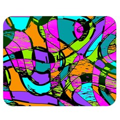 Abstract Art Squiggly Loops Multicolored Double Sided Flano Blanket (medium)  by EDDArt
