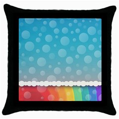 Rainbow Background Border Colorful Throw Pillow Case (black) by Amaryn4rt