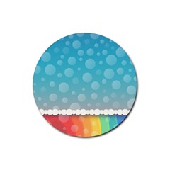 Rainbow Background Border Colorful Rubber Coaster (round)  by Amaryn4rt