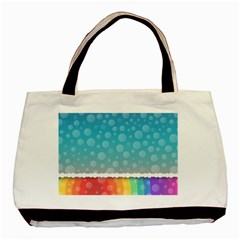 Rainbow Background Border Colorful Basic Tote Bag (two Sides) by Amaryn4rt