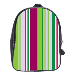 Beautiful Multi Colored Bright Stripes Pattern Wallpaper Background School Bags(large)  by Amaryn4rt