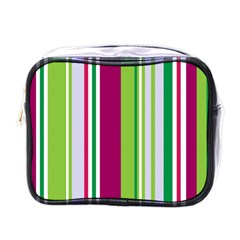 Beautiful Multi Colored Bright Stripes Pattern Wallpaper Background Mini Toiletries Bags