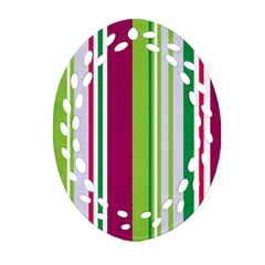 Beautiful Multi Colored Bright Stripes Pattern Wallpaper Background Oval Filigree Ornament (two Sides) by Amaryn4rt