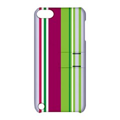 Beautiful Multi Colored Bright Stripes Pattern Wallpaper Background Apple Ipod Touch 5 Hardshell Case With Stand by Amaryn4rt
