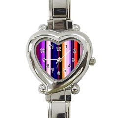 Fun Striped Background Design Pattern Heart Italian Charm Watch by Amaryn4rt