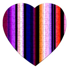 Fun Striped Background Design Pattern Jigsaw Puzzle (heart) by Amaryn4rt