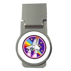 Badge Patch Pink Rainbow Rocket Money Clips (round)  by Amaryn4rt