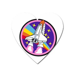 Badge Patch Pink Rainbow Rocket Heart Magnet by Amaryn4rt