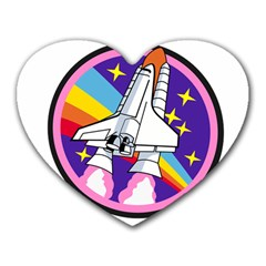 Badge Patch Pink Rainbow Rocket Heart Mousepads by Amaryn4rt