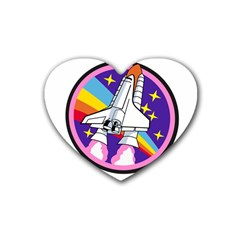 Badge Patch Pink Rainbow Rocket Rubber Coaster (heart)  by Amaryn4rt