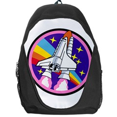 Badge Patch Pink Rainbow Rocket Backpack Bag by Amaryn4rt