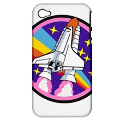 Badge Patch Pink Rainbow Rocket Apple Iphone 4/4s Hardshell Case (pc+silicone) by Amaryn4rt