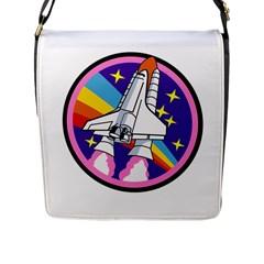 Badge Patch Pink Rainbow Rocket Flap Messenger Bag (l)  by Amaryn4rt