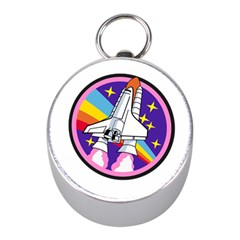 Badge Patch Pink Rainbow Rocket Mini Silver Compasses by Amaryn4rt