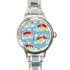 Rainbow Pony  Round Italian Charm Watch by Valentinaart