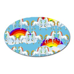Rainbow Pony  Oval Magnet by Valentinaart