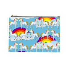 Rainbow Pony  Cosmetic Bag (large)  by Valentinaart