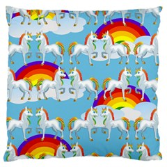 Rainbow Pony  Large Cushion Case (two Sides) by Valentinaart
