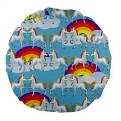 Rainbow Pony  Large 18  Premium Flano Round Cushions by Valentinaart