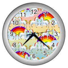 Rainbow Pony  Wall Clocks (silver)  by Valentinaart