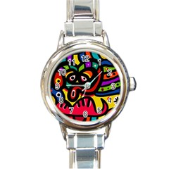 A Seamless Crazy Face Doodle Pattern Round Italian Charm Watch by Amaryn4rt