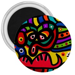 A Seamless Crazy Face Doodle Pattern 3  Magnets by Amaryn4rt