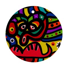 A Seamless Crazy Face Doodle Pattern Ornament (round) by Amaryn4rt