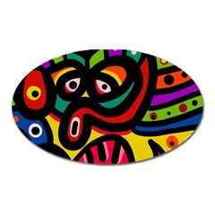 A Seamless Crazy Face Doodle Pattern Oval Magnet by Amaryn4rt