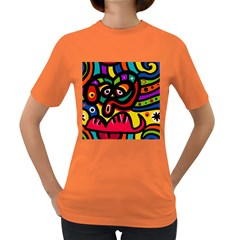 A Seamless Crazy Face Doodle Pattern Women s Dark T Shirt by Amaryn4rt