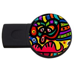 A Seamless Crazy Face Doodle Pattern Usb Flash Drive Round (4 Gb) by Amaryn4rt