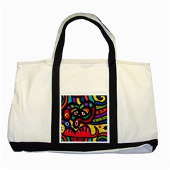 A Seamless Crazy Face Doodle Pattern Two Tone Tote Bag by Amaryn4rt
