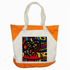 A Seamless Crazy Face Doodle Pattern Accent Tote Bag by Amaryn4rt