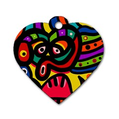 A Seamless Crazy Face Doodle Pattern Dog Tag Heart (two Sides) by Amaryn4rt