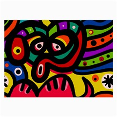 A Seamless Crazy Face Doodle Pattern Large Glasses Cloth (2 Side) by Amaryn4rt