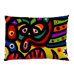 A Seamless Crazy Face Doodle Pattern Pillow Case by Amaryn4rt