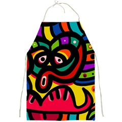 A Seamless Crazy Face Doodle Pattern Full Print Aprons by Amaryn4rt