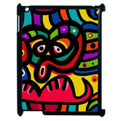 A Seamless Crazy Face Doodle Pattern Apple Ipad 2 Case (black) by Amaryn4rt