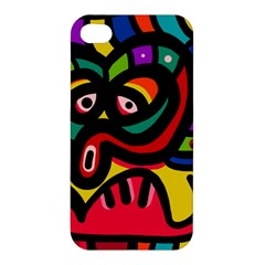 A Seamless Crazy Face Doodle Pattern Apple Iphone 4/4s Premium Hardshell Case by Amaryn4rt