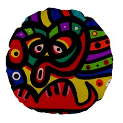 A Seamless Crazy Face Doodle Pattern Large 18  Premium Round Cushions