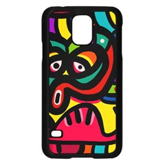 A Seamless Crazy Face Doodle Pattern Samsung Galaxy S5 Case (black) by Amaryn4rt