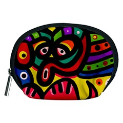 A Seamless Crazy Face Doodle Pattern Accessory Pouches (medium)