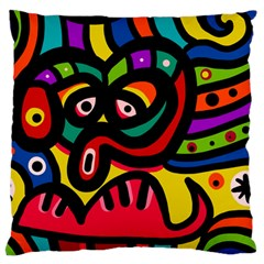 A Seamless Crazy Face Doodle Pattern Standard Flano Cushion Case (two Sides) by Amaryn4rt