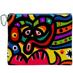 A Seamless Crazy Face Doodle Pattern Canvas Cosmetic Bag (xxxl) by Amaryn4rt