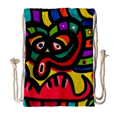 A Seamless Crazy Face Doodle Pattern Drawstring Bag (large) by Amaryn4rt