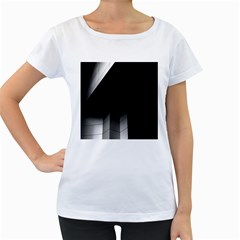 Wall White Black Abstract Women s Loose-Fit T-Shirt (White) by Amaryn4rt