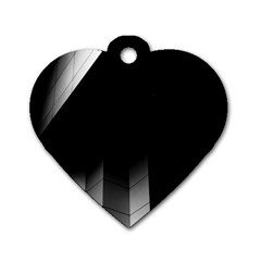 Wall White Black Abstract Dog Tag Heart (two Sides) by Amaryn4rt
