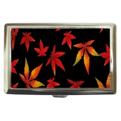 Colorful Autumn Leaves On Black Background Cigarette Money Cases by Amaryn4rt